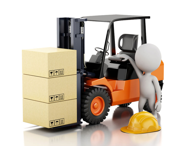 37889256 - 3d illustration. white people with a forklift and cardboard boxes. isolated white background